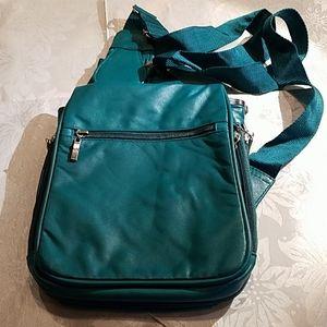 Travelon green leather crossbody bag